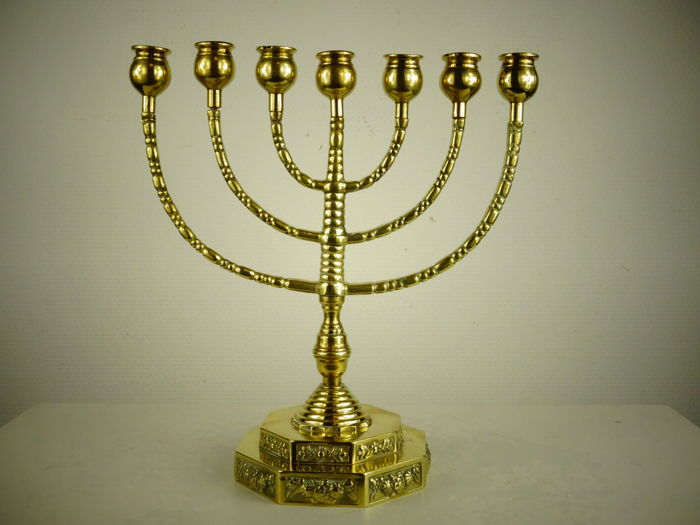 Fine brass Menorah - Europe - mid 20th century
