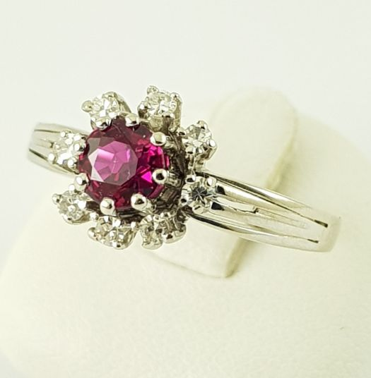 Ring - White gold - Ruby and Diamond