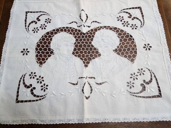 Very special embroidered open work tablecloth