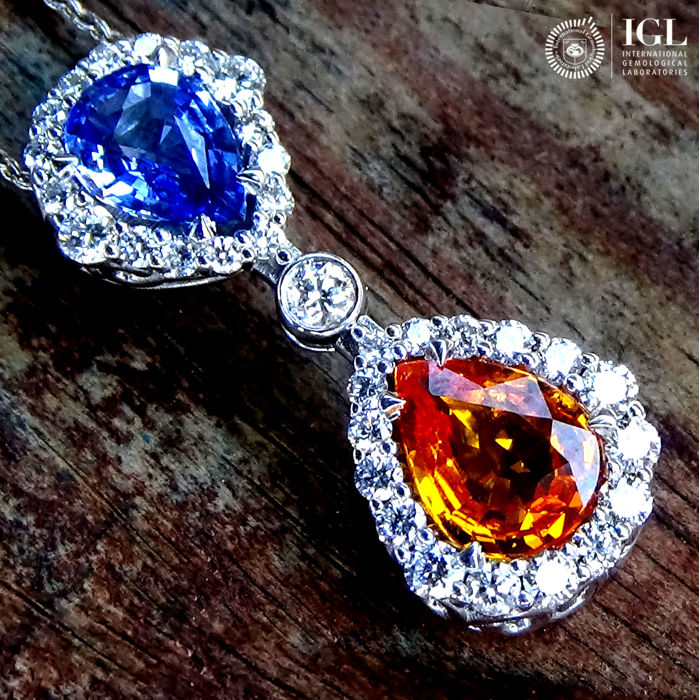 Blue orange sapphire pendant necklace and natural diamond in 18 kt blue orange sapphire pendant necklace and natural diamond in 18 kt white gold 323 ct aloadofball Image collections