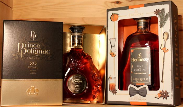 2 bottles: 1. Prince Hubert Polignac XO Royal Cognac incl. Box + 2. Hennessy Fine de Cognac, Limited Edition