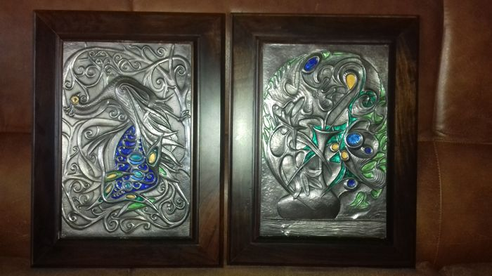 Two silver pictures with walnut wooden frame, Italy, 20th century