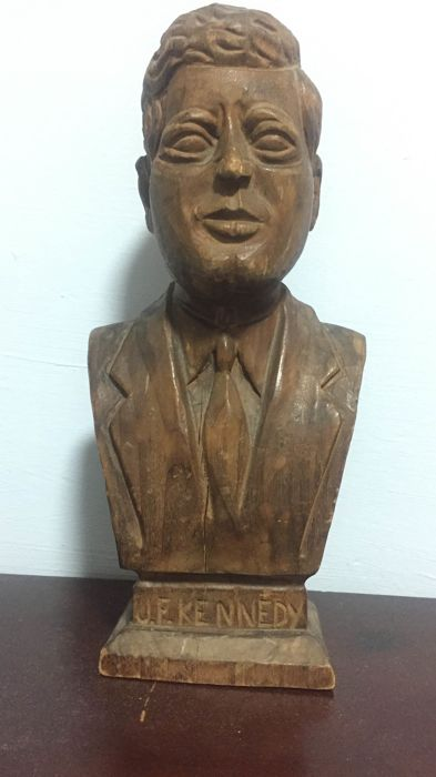 J.F. Kennedy bust in wood