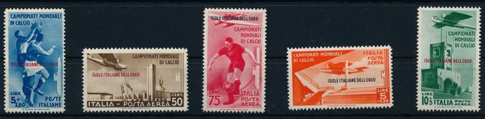 Italian Aegean Islands - general issues 1934 - Football World Cup, airmail stamps - Sassone NN. S 35 + 79