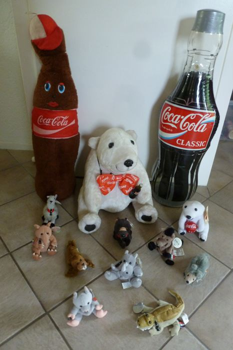 Various merchandise items of Coca-Cola
