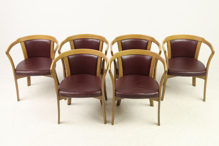 Farstrup   Set Of Six Burgundy Leather Chairs
