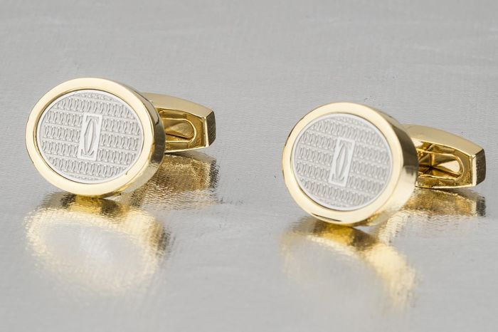 Cartier 18k gold plated logo cuff links