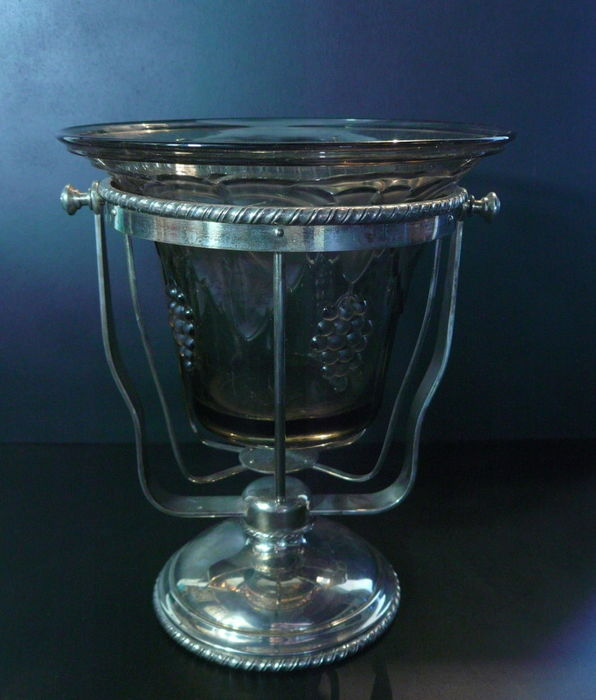 Rare: antique balancing antique ship wine/Champagne cooler holder with antique Bohemian glass inner bowl