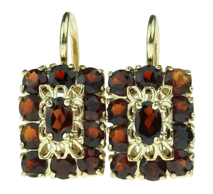 14 karat gold entourage earrings set with garnet - fine design