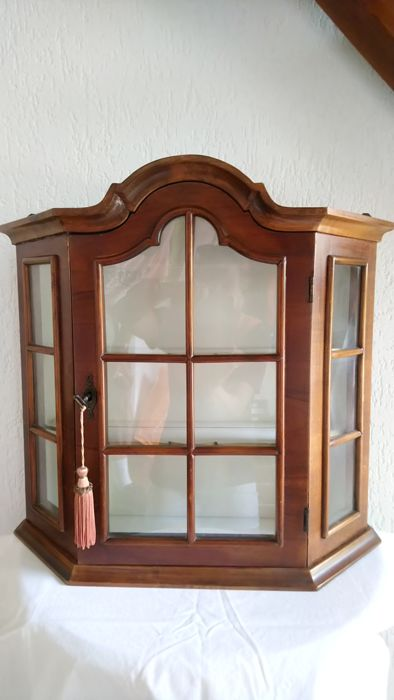 Beautiful walnut display cabinet - mid 20th century - the Netherlands