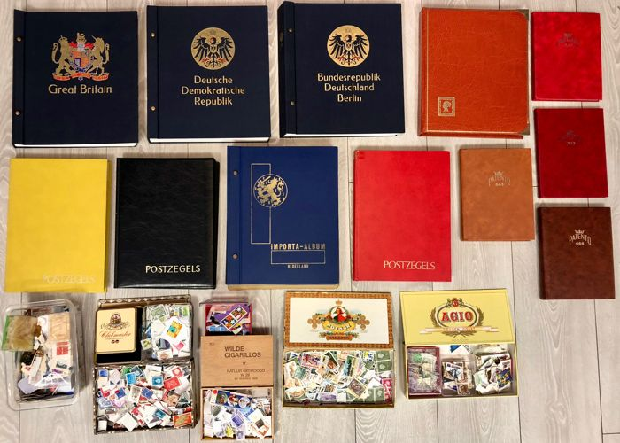 Wereld 1900/1990 - Party with albums, stock books and loose stamps
