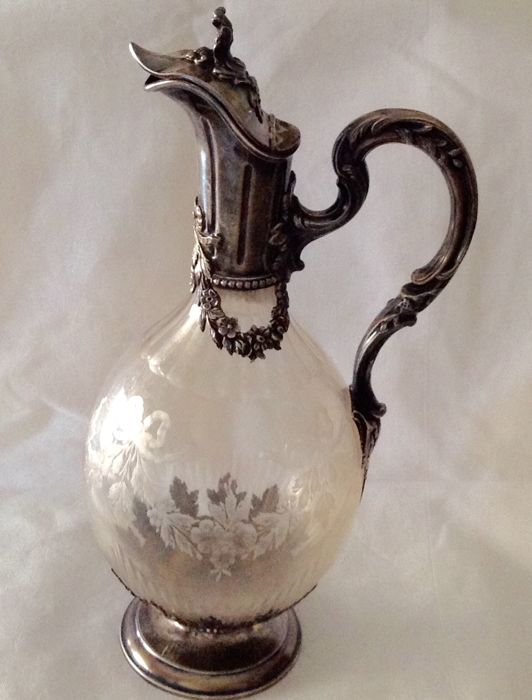 Crystal and silver decanter, Minerva, France, 19th century