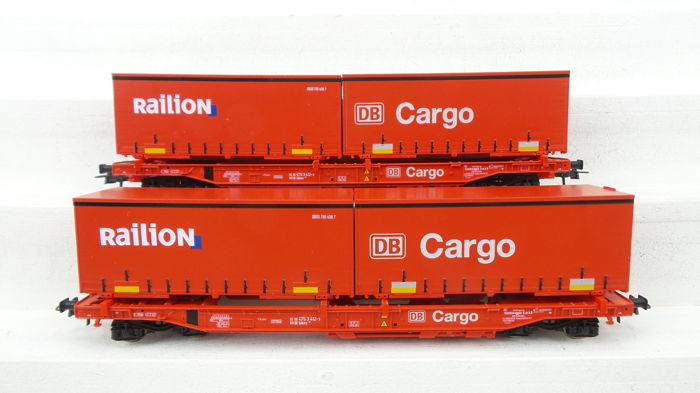 Roco H0 - 66985 - Freight carriage - 2 Container carriers type Sdkms with cargo - DB