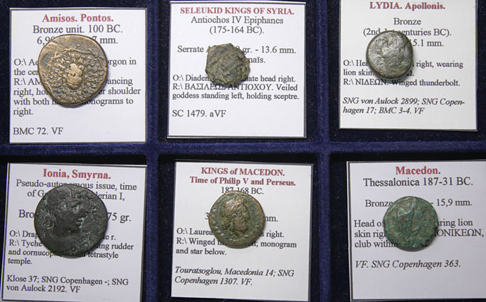 Greece (ancient) - Lot comprising 6 AE coins:  c. 300-100 BC (6x)