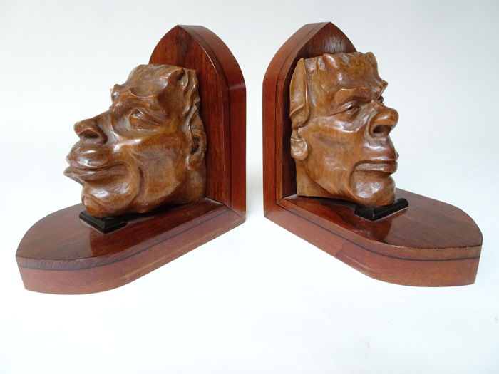 Set of hand-carved bookends Art Deco style:  Devil heads