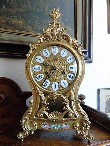 Large - Gold-coloured - Metal case - Neuchatel Boulle - Euroclock - Germany - ca. 1970