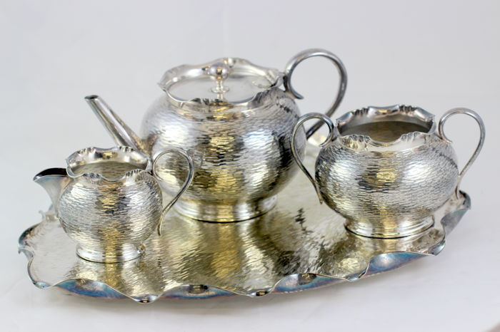 Antique silver plate tray with tea set , Thos Wf.bb & sons, England, C.1930's