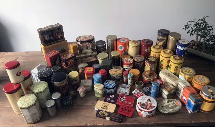 Collection of 76 old tins