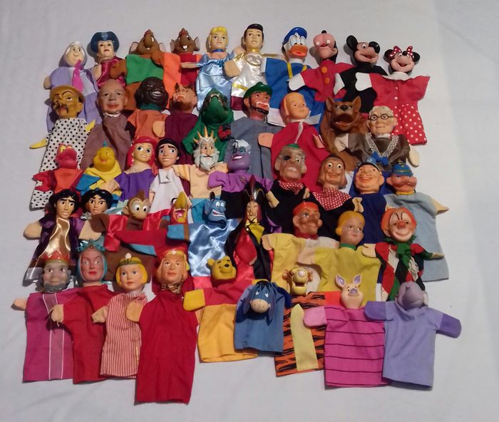 Beautiful collection of 47 puppet-show puppets