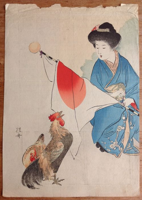 Full-colour kuchi-e woodblock print by Takeuchi Keishū (1861–1943) - a crowing rooster - Japan - 1906
