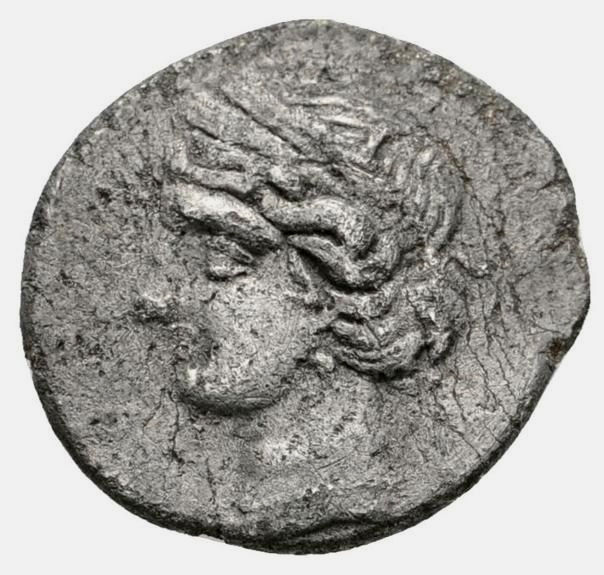 Roman Republic - Cartago (Zeugitania). Quarter of shekel, 2nd Punic War (218-210 B.C) - Tanit / horse to right - Silver