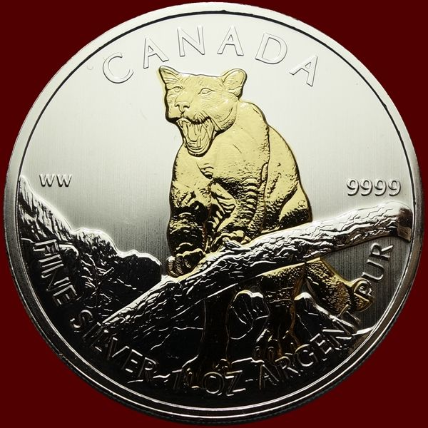 Canada - 5 Dollar 2012 - Cougar gold plated - 1 oz - Argent