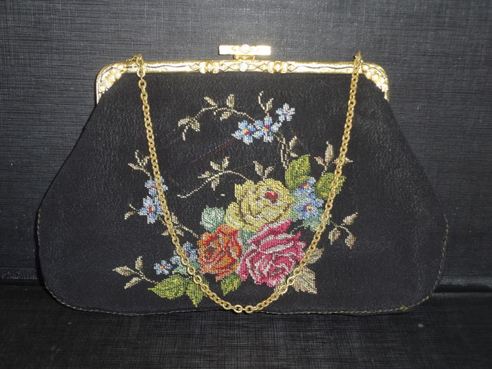 Middle 20th Century Petit Point Black Silk Bag With Stone and Mirror ca. 1950 Unused
