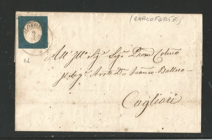 Sardinia 1854 - 20 cents blue on letter from Carloforte to Cagliari - Sassone N. 8d