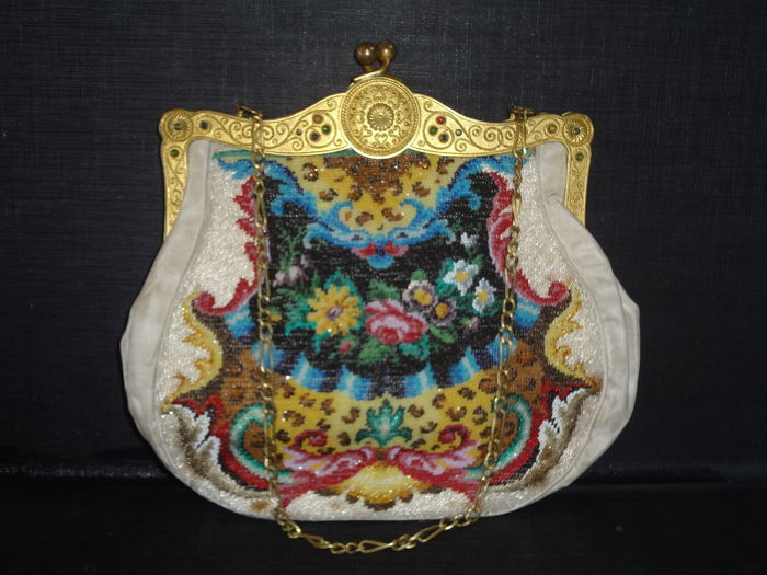 Early 19th Century Tombac Gold Plated Bead Bag With Color Stone ca. 1830 Unused