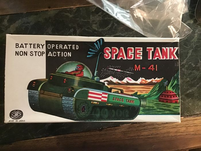 Japan Modern Toys Uncommon space tank in mint box 1950