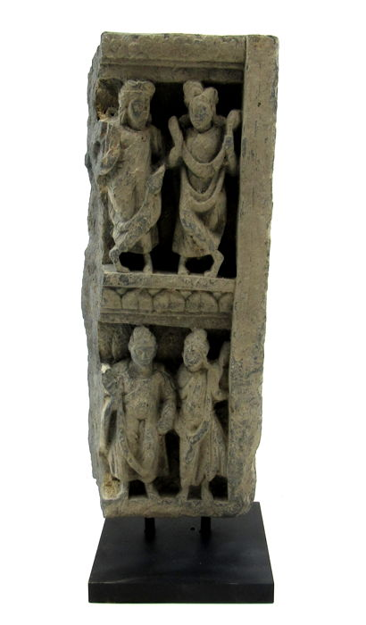 Gandhara Schist Panel with Buddha (lower register) and attendants  - 27x10.5cm