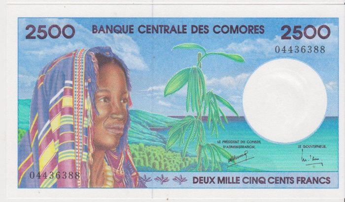 Comores - 2500 Francs ND (1997) - Pick 13