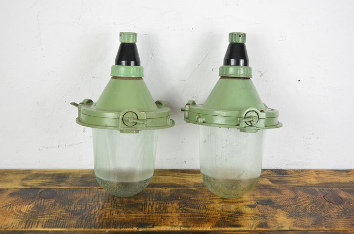 Unknown designer - Soviet Union industrial lamps lot2 (2x)