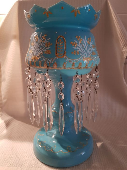 Large version table piece of opaline glass with hanging crystal icicles, about 1900