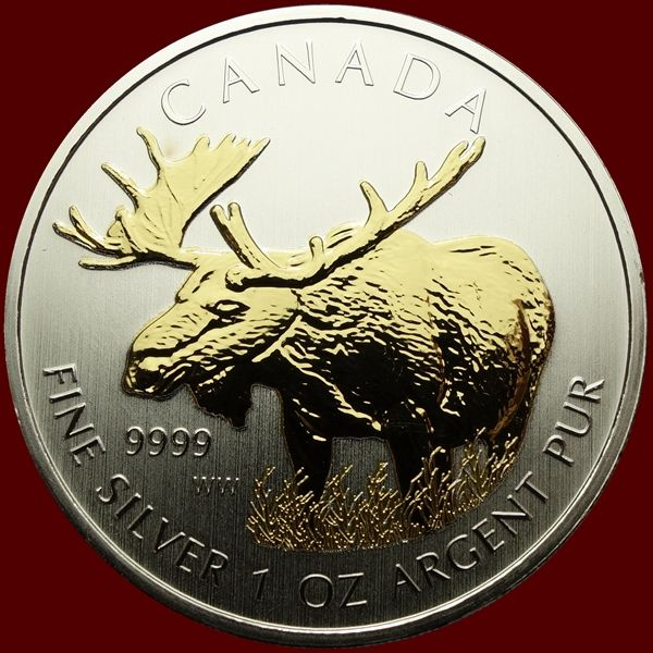 Canada - 5 Dollar 2012 - Moose gold plated - 1 oz - Argent