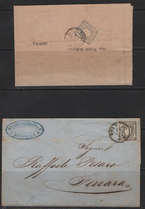 Sardinia 1861 - 1 cent and 2 cent on printed documents and 1 cent, vertical stripe of 5 and 2 cent single - Sassone NN, 19, 20