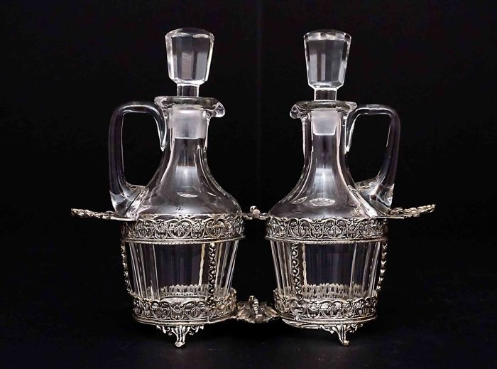 Silver and Cut Glass Cruet Set   - Colombo Luigi  -Milan (Italy)  1938-1944