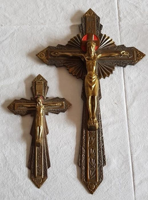 Set of Art Deco bronze copper crucifixes - small and large