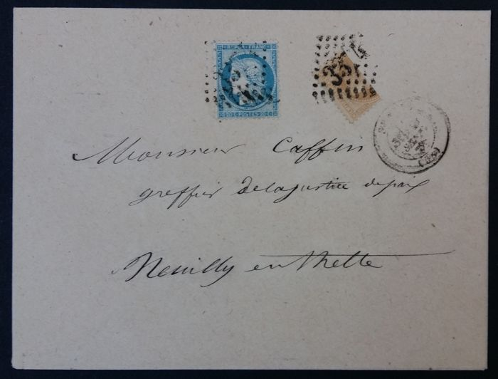 France 1868 - Letter with the 10 c. Lauré bean cut in half - Yvert 28 et 37