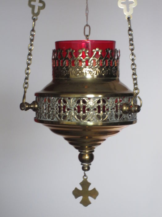Old brass sanctuary lamp - Belgium - late 19th / early 20th century