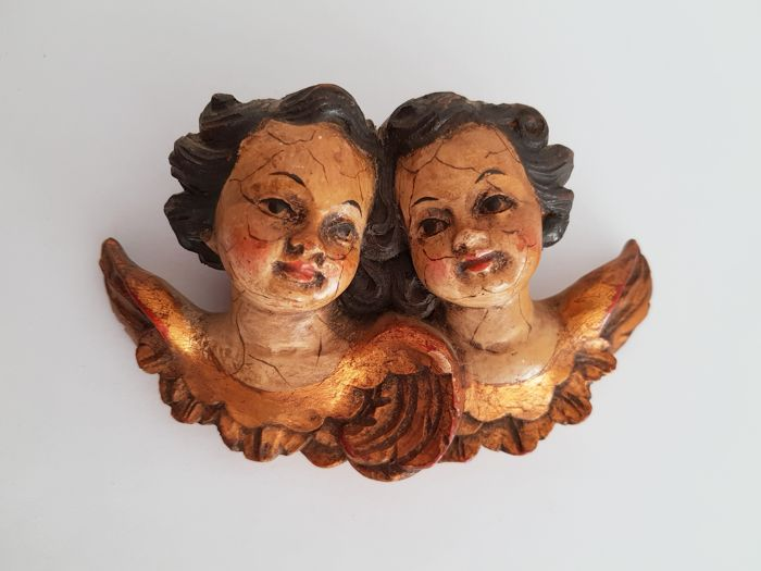Wooden angel/putto head figures, approx. 11.5 x 7 cm