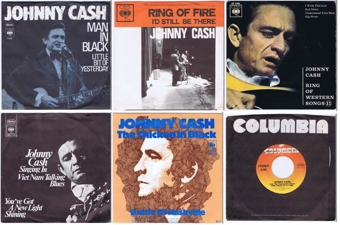 JOHNNY CASH - Lot of 5x 45RPM singles and 1x 45RPM EP w/PS| The Man in Black!