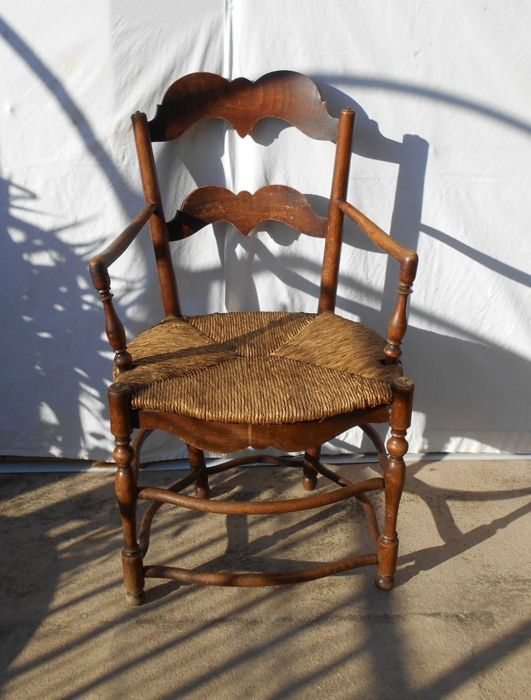 Straw Chair With Flutes   Louis XV Style   Rye Straw Seat   Bent Oak Wood