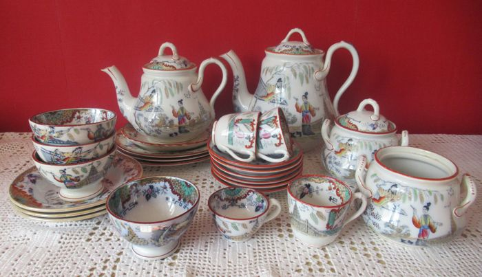 Petrus Regout - Lot with 25 set pieces with the Oriental decor 'Timor'