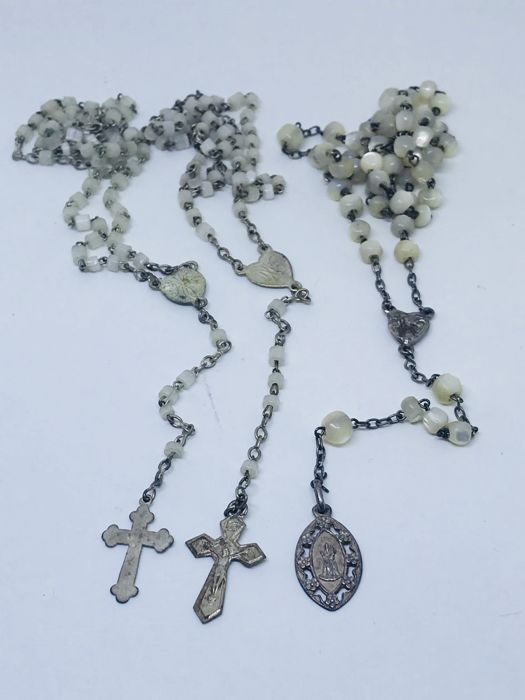 Three late 1800s mother of pearl rosaries