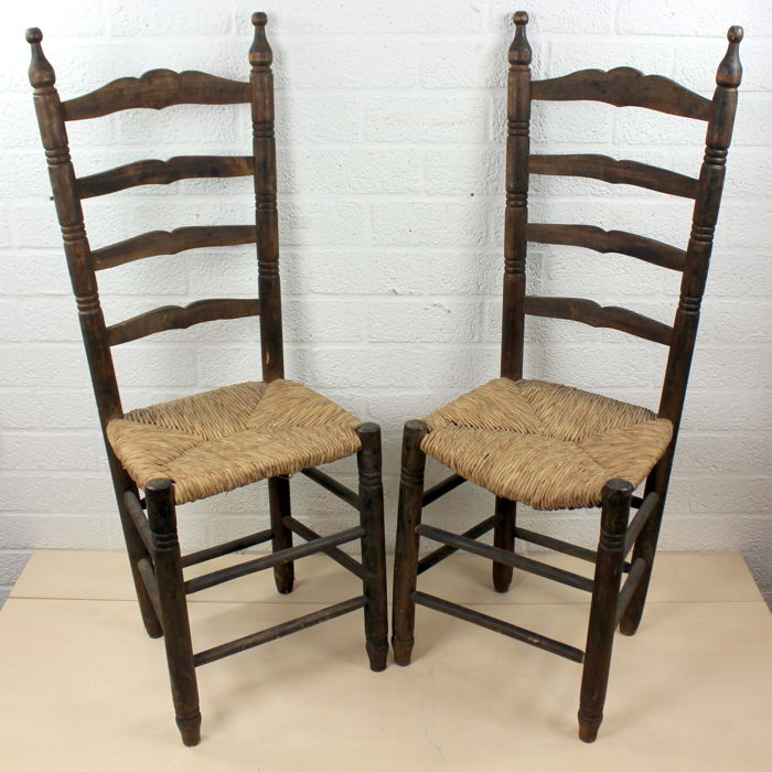 Pair Of Antique Wooden Church Chairs With Rush Seat   Belgium   1st Half  1900