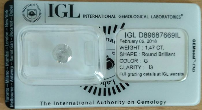 1.47 ct brilliant cut diamond G / I3