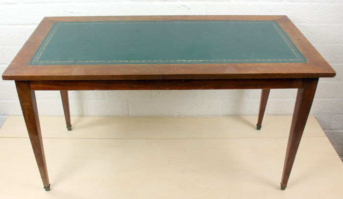 wooden coffee table inlaid with green felt gold print bronze legs belgium 1950s catawiki. Black Bedroom Furniture Sets. Home Design Ideas