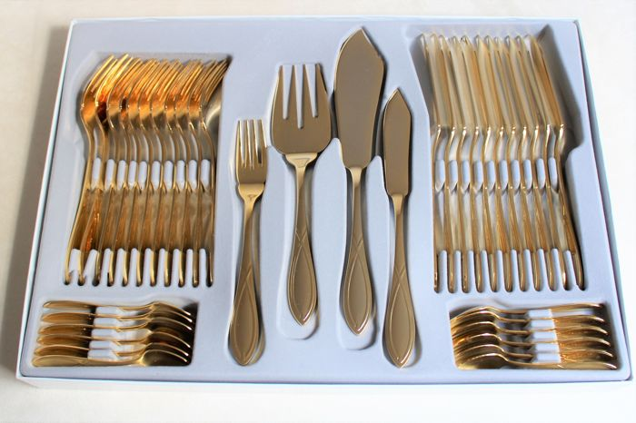 "Luxury fish cutlery of the traditional company,SBS Solingen - limited edition ""Christina Royal,complete for 12 people - 23/24 karat hard gold plated - perfect condition"