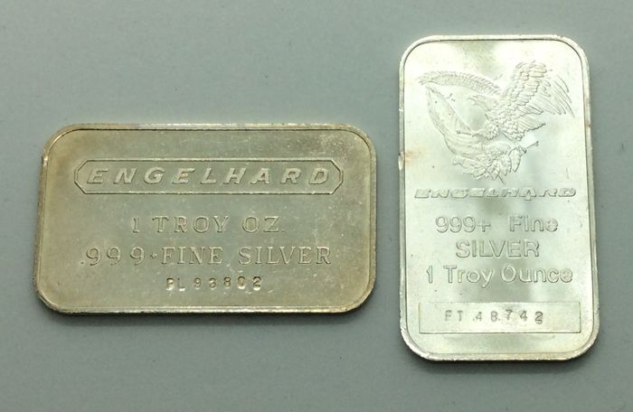 Engelhard - 2 x 1 Troy oz - 999/1000 - Minted silver bars - With serial numbers